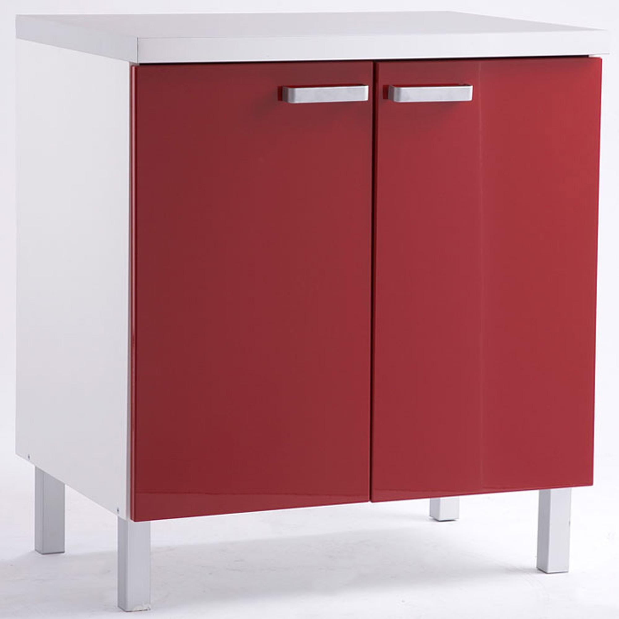 Meuble bas 2 portes citiz rouge caisson blanc anniversaire 40 ans acheter ce produit au for Meuble bas 3 portes