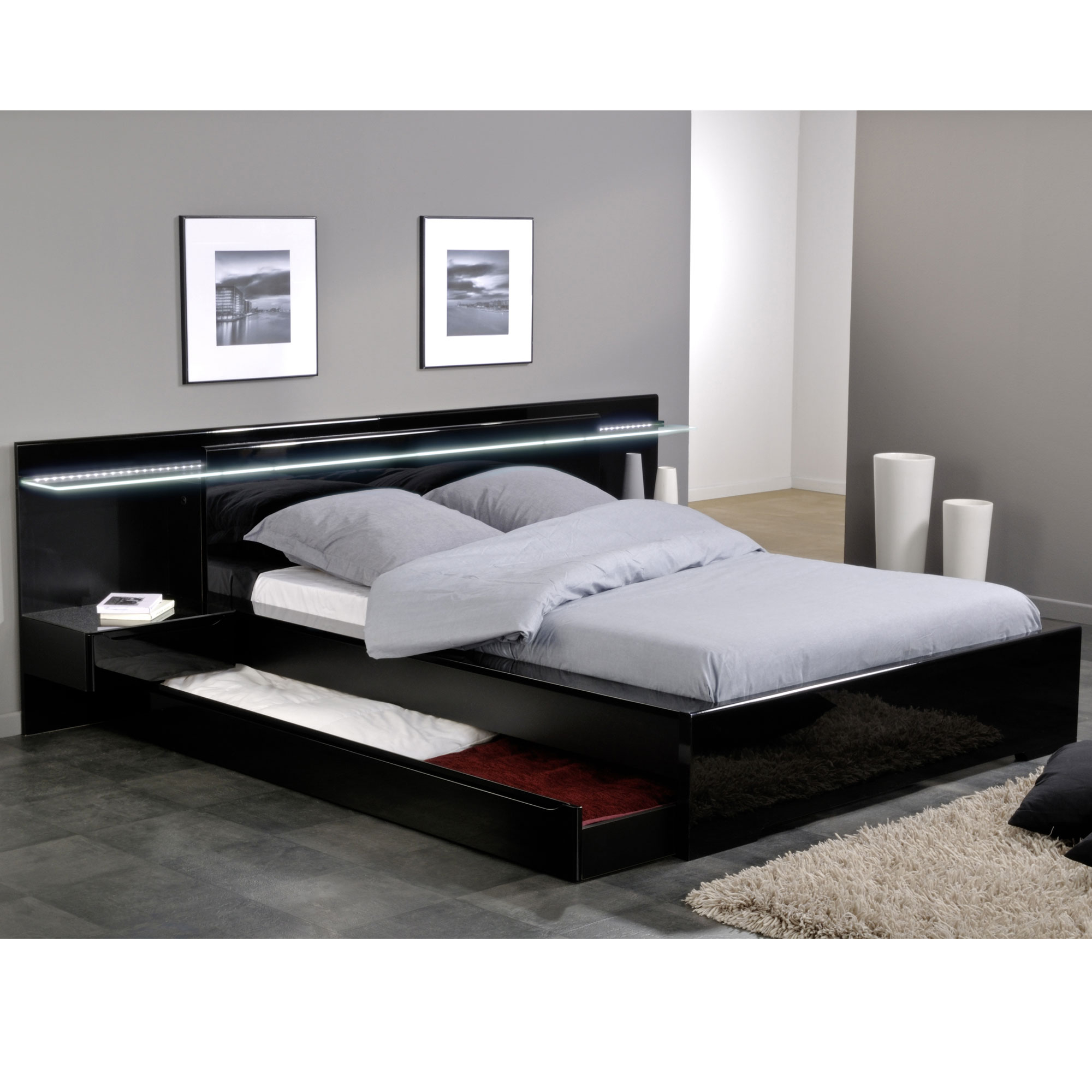 ensemble lit environnement lumineux 160 x 200 avec 2 chevets int gr s amber laqu noir. Black Bedroom Furniture Sets. Home Design Ideas