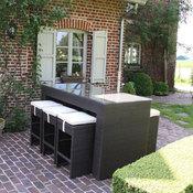 Salon de jardin 6 places en r sine tress e table haute for Salon de jardin 200 euros