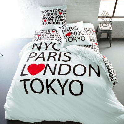 housse de couette en pur coton imprim love city acheter ce produit au meilleur prix. Black Bedroom Furniture Sets. Home Design Ideas