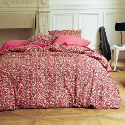 drap plat motif fleuri en pur coton coloris rouge rose. Black Bedroom Furniture Sets. Home Design Ideas