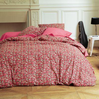 drap plat motif fleuri en pur coton coloris rouge rose flori acheter ce produit au meilleur prix. Black Bedroom Furniture Sets. Home Design Ideas
