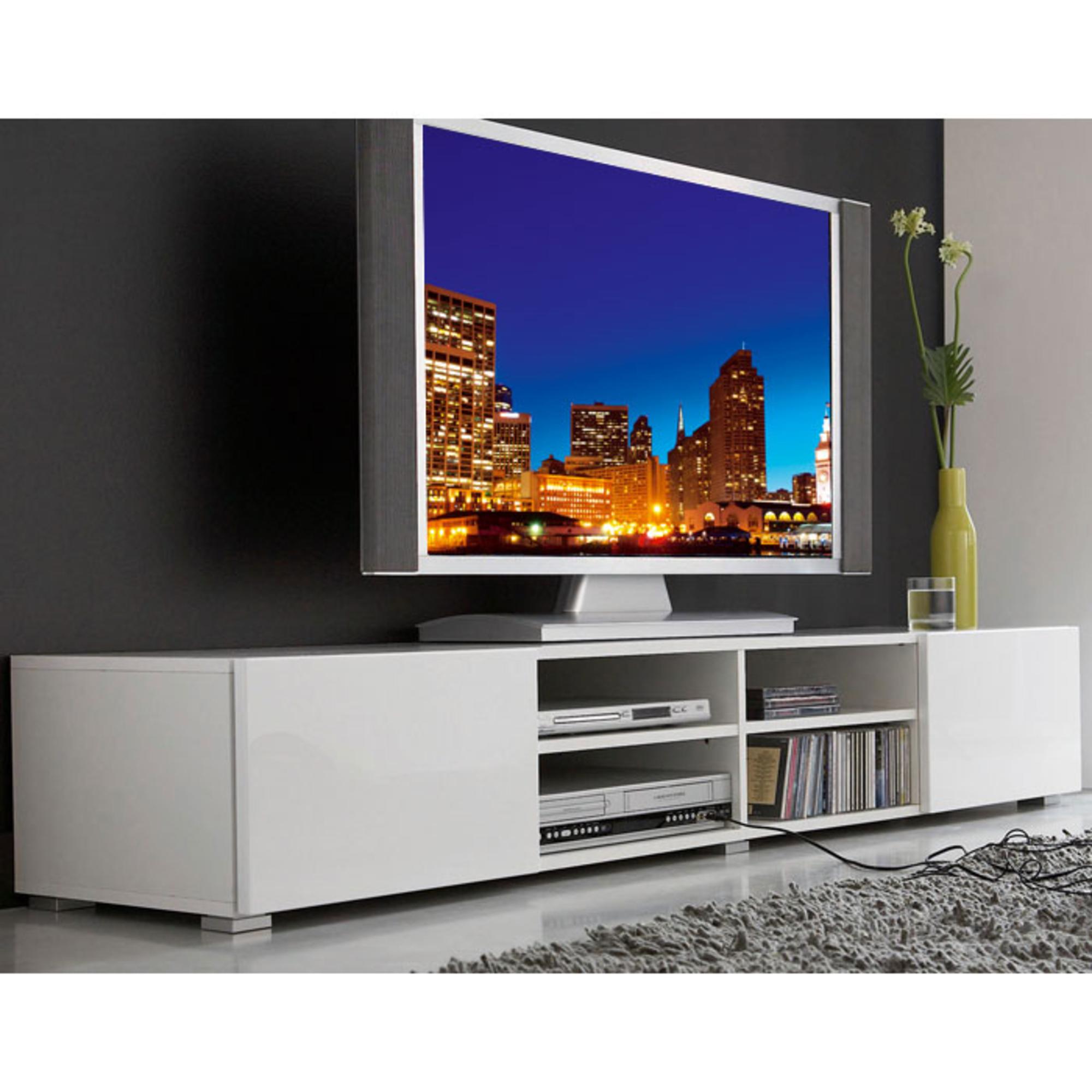 Meuble Tv 4 Niches 2 Tiroirs Magnus Blanc Anniversaire 40 Ans  # Ou Acheter Meuble Tv
