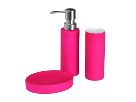 set de 3 accessoires de salle de bain chloe fuschia - Accessoire De Salle De Bain Rose