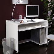 Bureau en mdf laqu blanc longueur 100 cm seattle for Bureau 60 cm de longueur