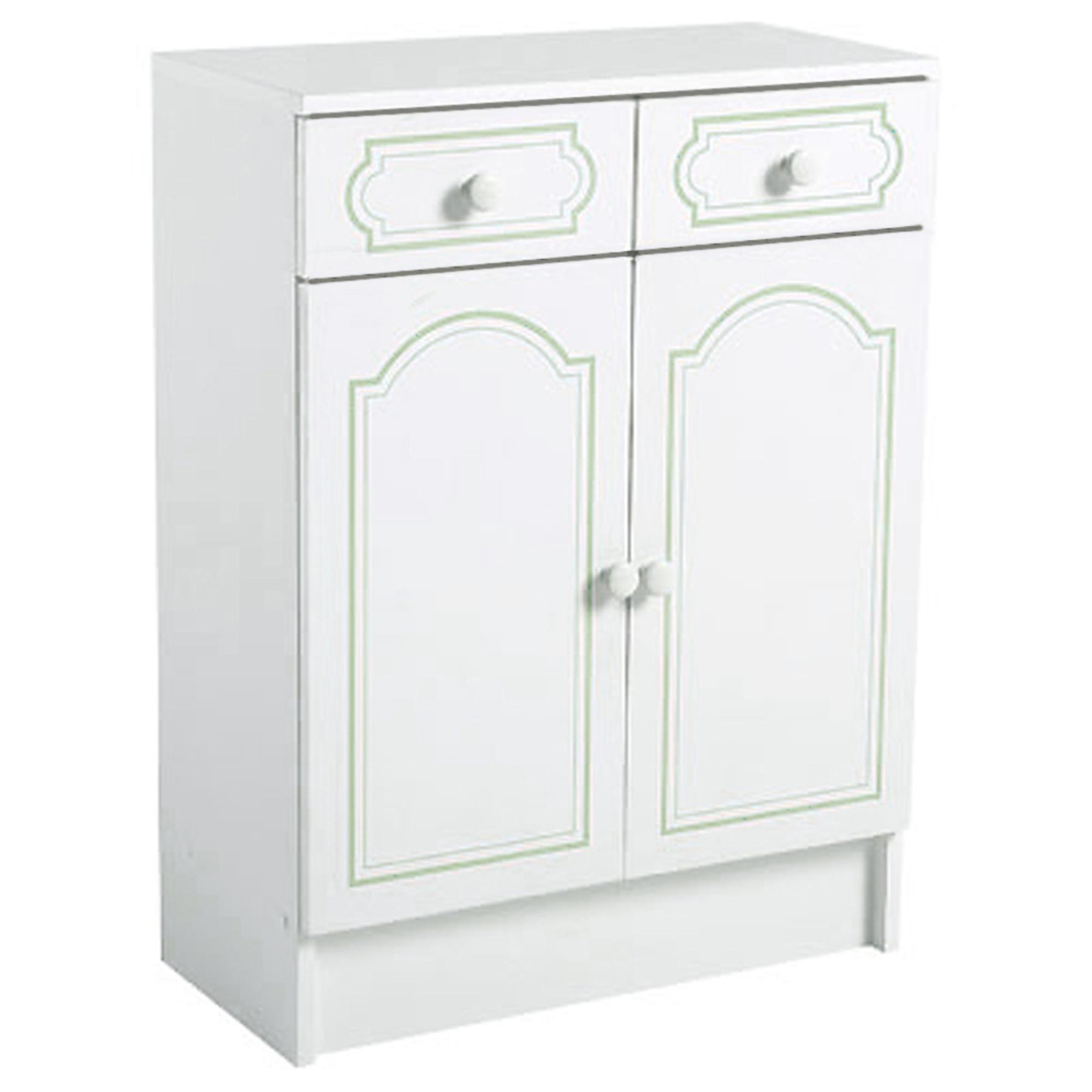 Meuble bas 2 portes 2 tiroirs salle de bain belle ile for Salle de bain vert d eau