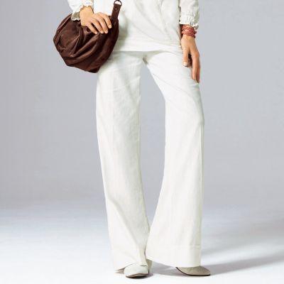 pantalon femme lin large. Black Bedroom Furniture Sets. Home Design Ideas