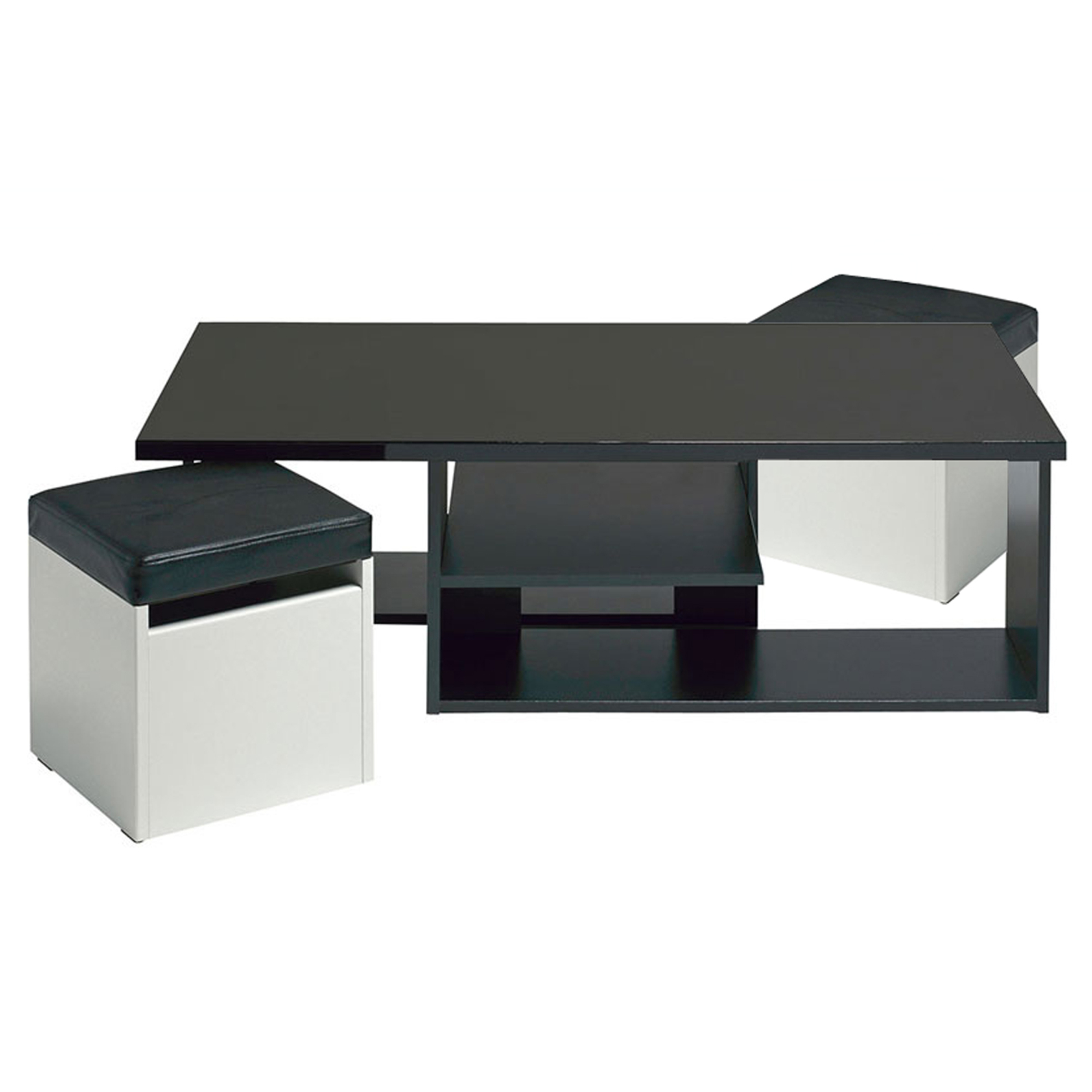 table basse 2 poufs egerie noir ultra brillant frais. Black Bedroom Furniture Sets. Home Design Ideas