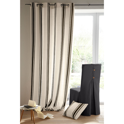 rideau oeillets rayures tiss es teintes en toile pur coton acheter ce produit au meilleur prix. Black Bedroom Furniture Sets. Home Design Ideas