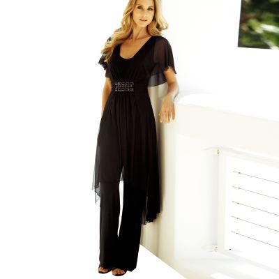 combinaison pantalon maille et voile manches papillon femme grande taille votre mode du 38 au 58. Black Bedroom Furniture Sets. Home Design Ideas