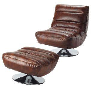 Fauteuil et repose pieds cuir marron pompidou Acheter ce produit