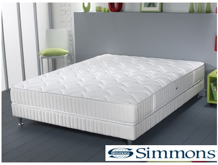 ensemble sommier matelas ressorts ensach s pulsion de simmons 140x190 acheter ce produit. Black Bedroom Furniture Sets. Home Design Ideas