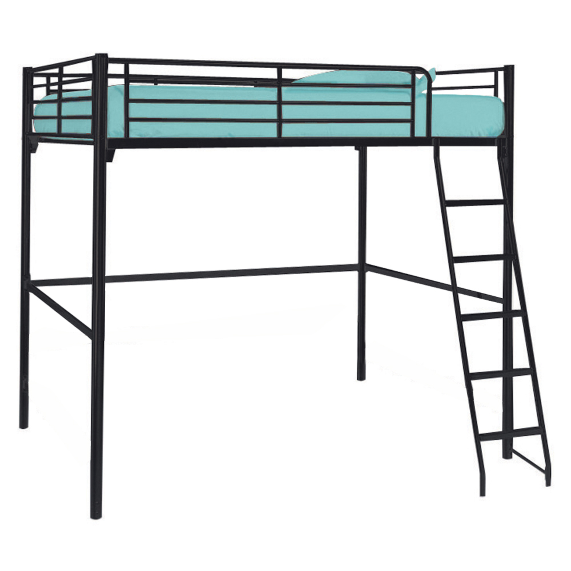 lit mezzanine 2 personnes duetto noir anniversaire 40. Black Bedroom Furniture Sets. Home Design Ideas