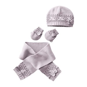 Ensemble bébé fille bonnet écharpe et moufles