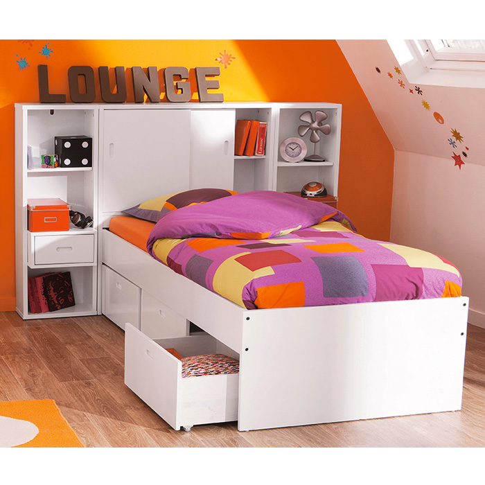 lit enfant 90 x 190 cm tiroir t te de lit blog blanc. Black Bedroom Furniture Sets. Home Design Ideas