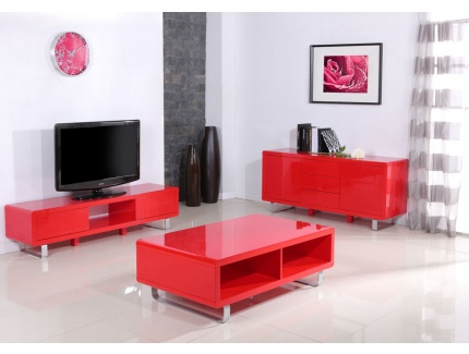 Table basse rectangulaire fiction laqu rouge acheter - Table basse rouge laque ...