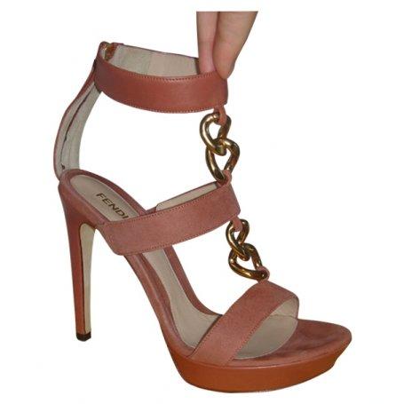 sandales en daim couleur bois de rose fendi 39it acheter ce produit au meilleur prix. Black Bedroom Furniture Sets. Home Design Ideas
