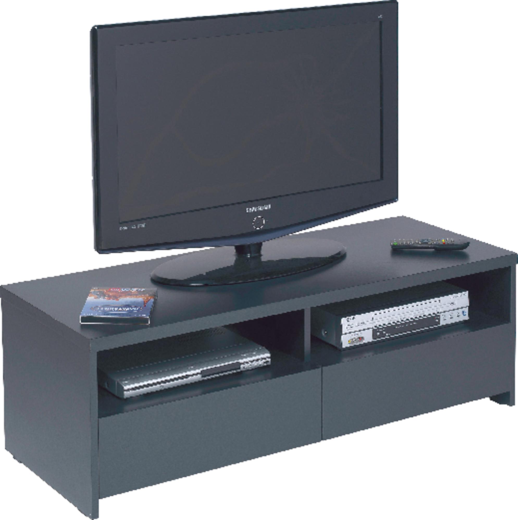 meuble tv 2 portes 2 niches banco - noir mat - frais de traitement