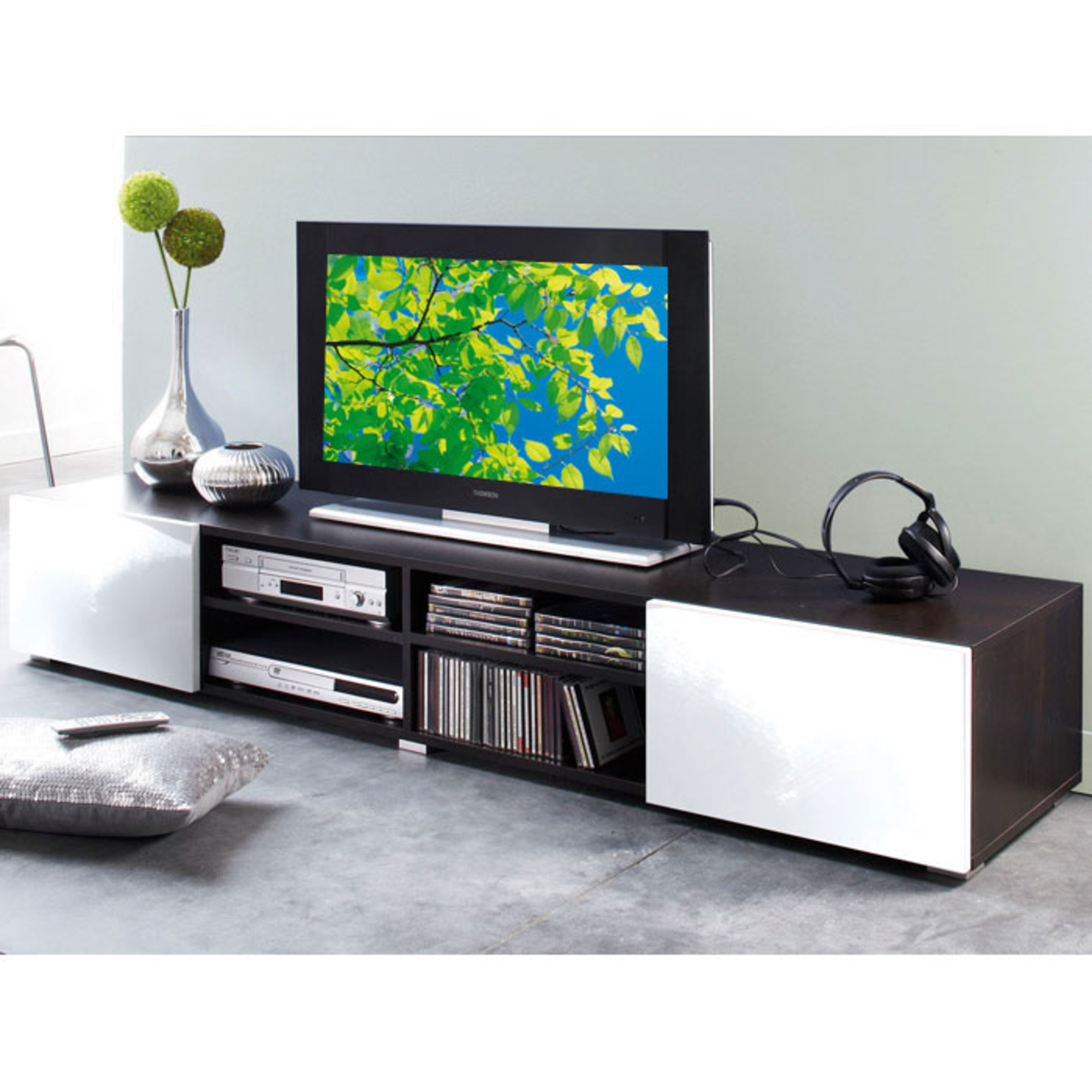 Meuble tv 4 niches 2 tiroirs magnus weng blanc for Meuble tv wenge et verre