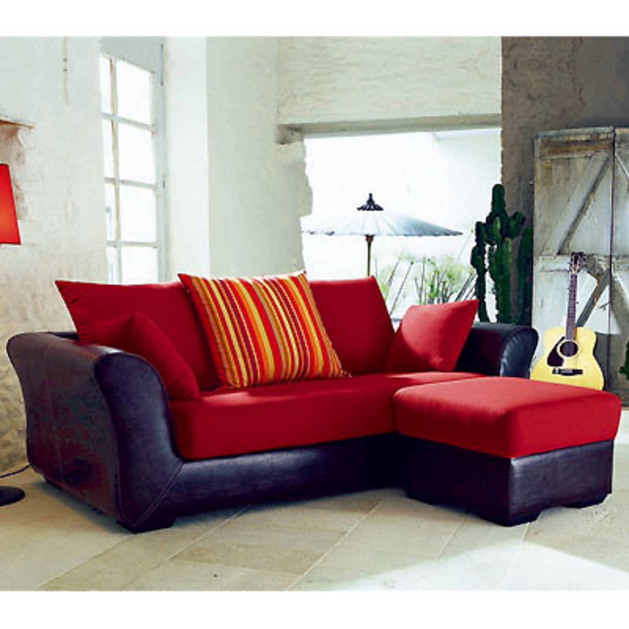 Canap d 39 angle r versible 3 places fixe pouf sansierra rouge annive - Canape rouge 3 places ...