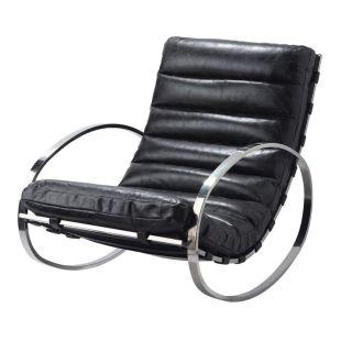 fauteuil bascule cuir noir freud acheter ce produit au meilleur prix. Black Bedroom Furniture Sets. Home Design Ideas