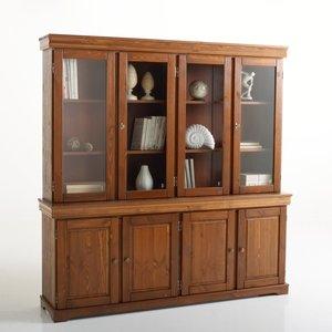 biblioth que vitrine pin massif 4 portes acheter ce produit au meilleur prix. Black Bedroom Furniture Sets. Home Design Ideas