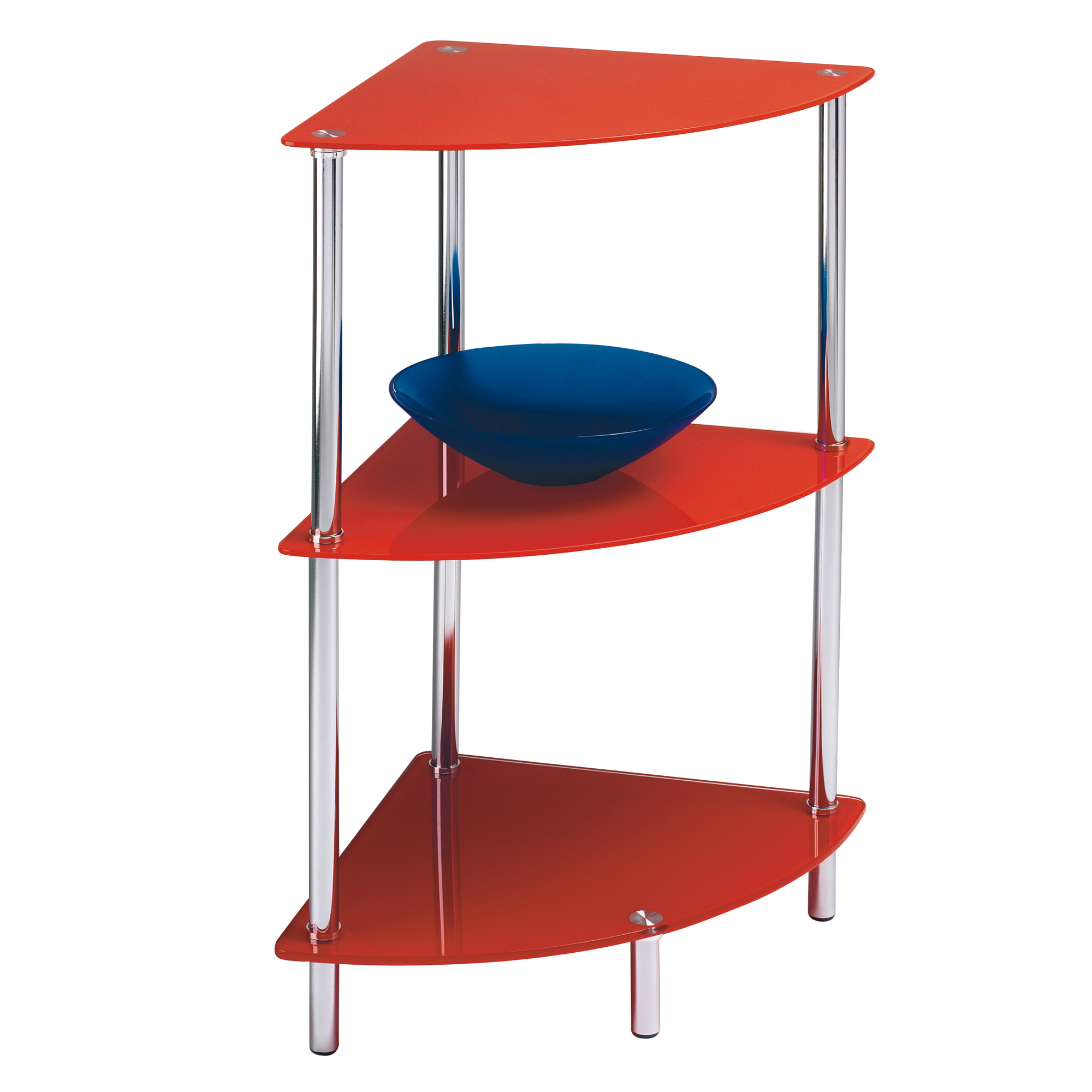 Etagere d 39 angle rouge for Etagere d angle salon