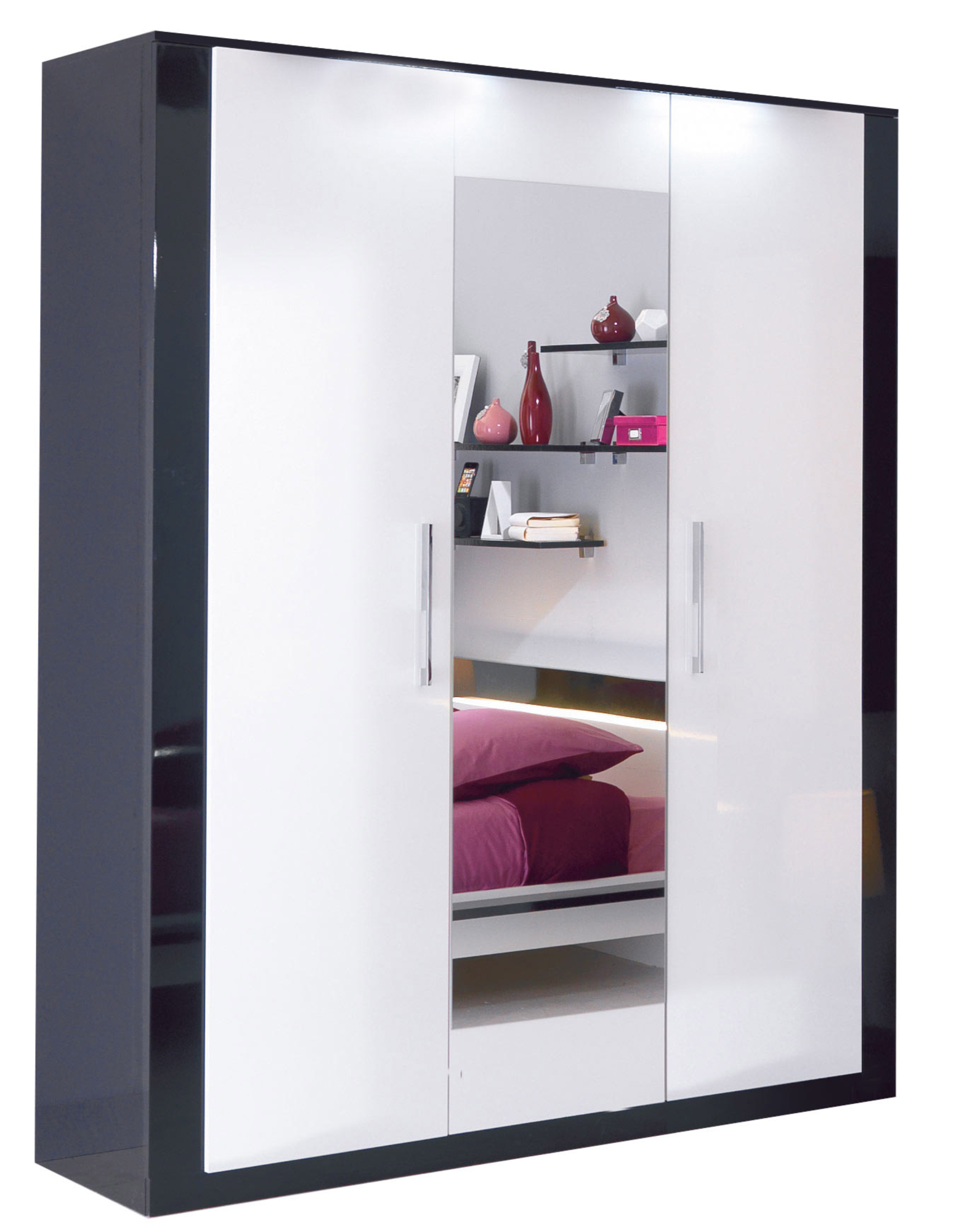 armoire 4 portes avec miroir scoop blanc et noir. Black Bedroom Furniture Sets. Home Design Ideas