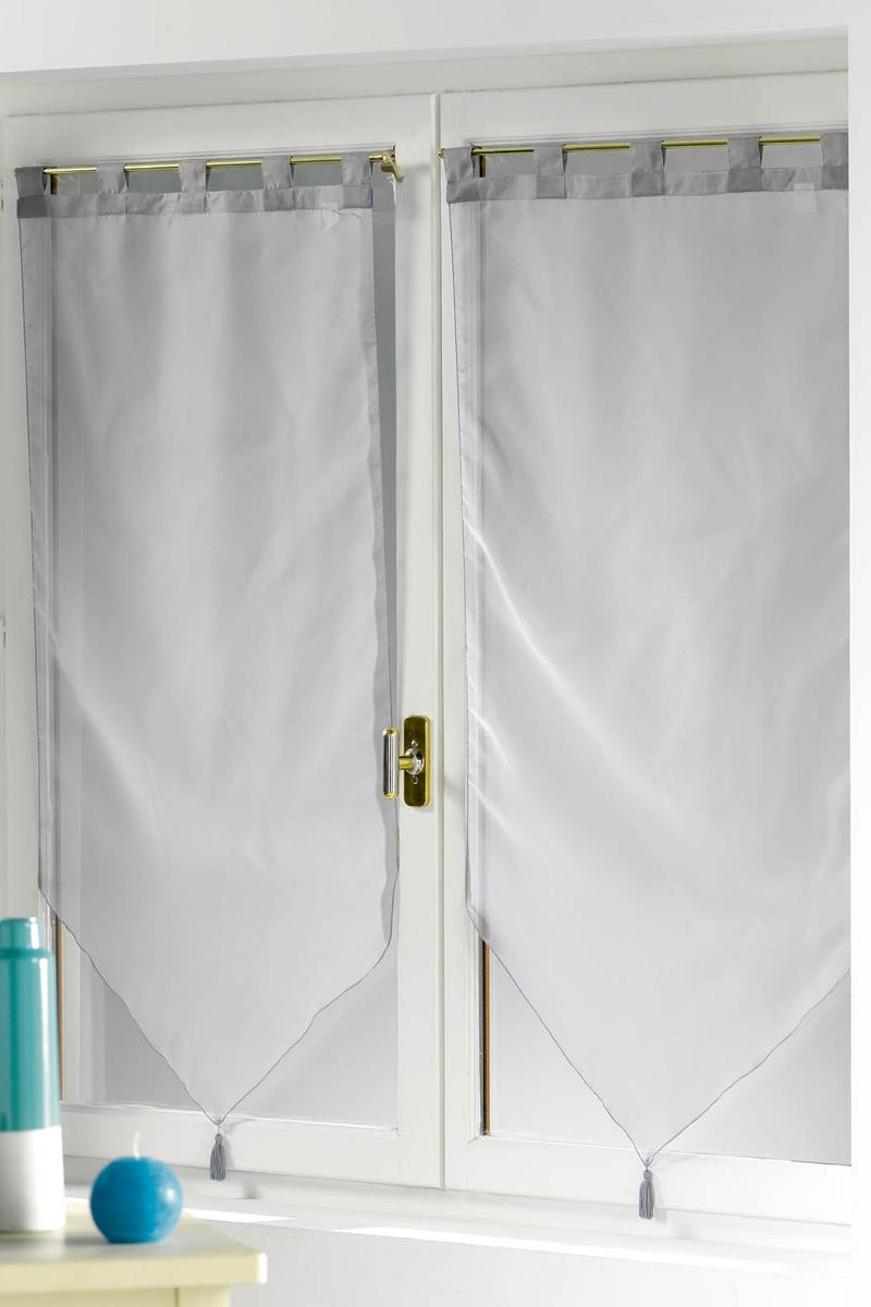 2 voilages passants 2 x 60 x 90 cm voile gris acheter ce produit au meilleur prix. Black Bedroom Furniture Sets. Home Design Ideas