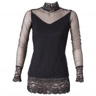 pull femme dentelle manches longues