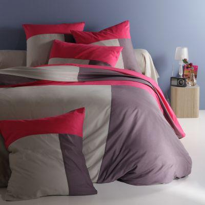 drap en pur coton rose gris trio acheter ce produit au. Black Bedroom Furniture Sets. Home Design Ideas