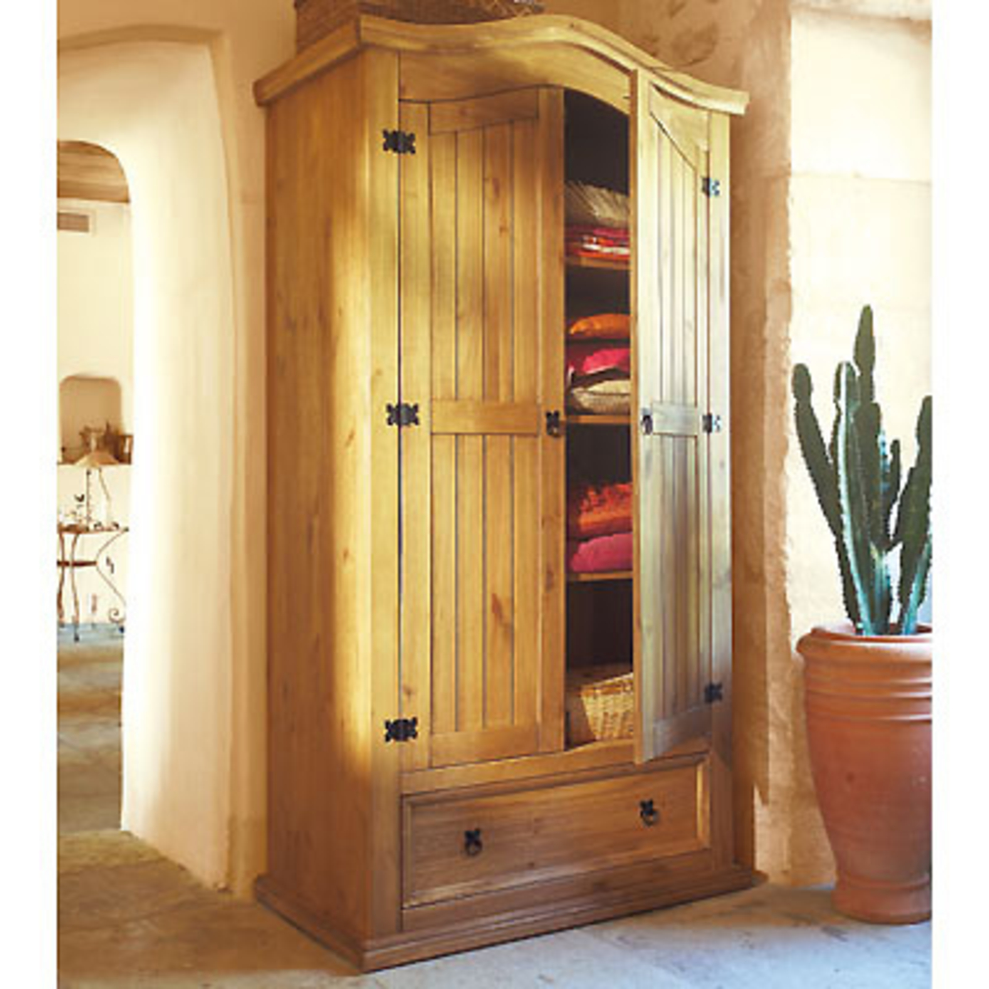 armoire 2 portes 1 2 penderie 1 2 ling re el patio. Black Bedroom Furniture Sets. Home Design Ideas