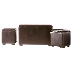 banc soho 2 poufs coffres acheter ce produit au meilleur prix. Black Bedroom Furniture Sets. Home Design Ideas