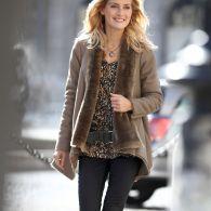 Grande Manches Taille Peau Longues Lainée Manteau Femme Votre Fausse ATnOwtqTY