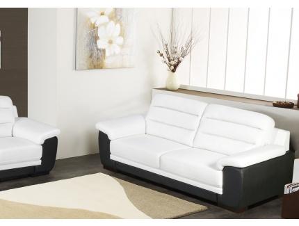 Canap 3 places simili cuir cardiff bicolore blanc et for Canape cuir noir et blanc