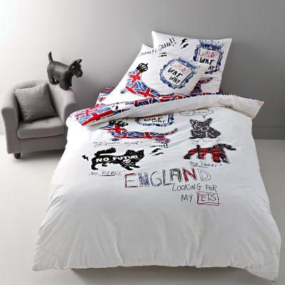 drap housse englis dog en pur coton acheter ce produit au meilleur prix. Black Bedroom Furniture Sets. Home Design Ideas