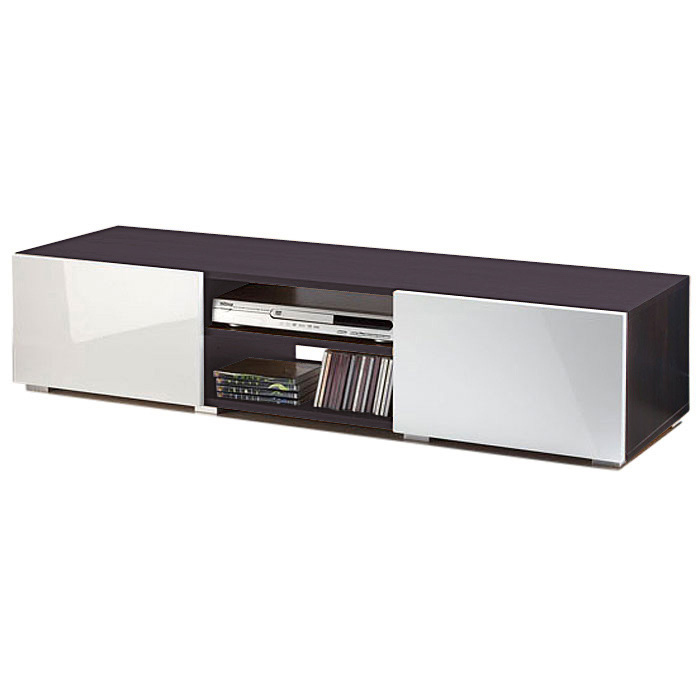 Meuble tv 2 niches 2 tiroirs magnus blanc weng fa ades for Meuble tv wenge et verre
