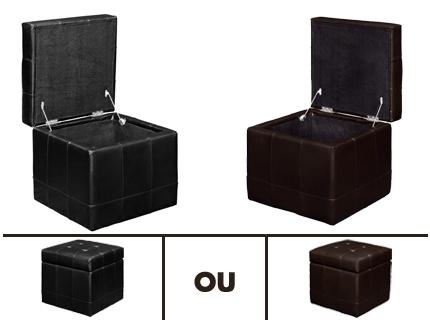 pouf coffre de rangement sogno ii cuir bycast noir acheter ce produit au meilleur prix. Black Bedroom Furniture Sets. Home Design Ideas