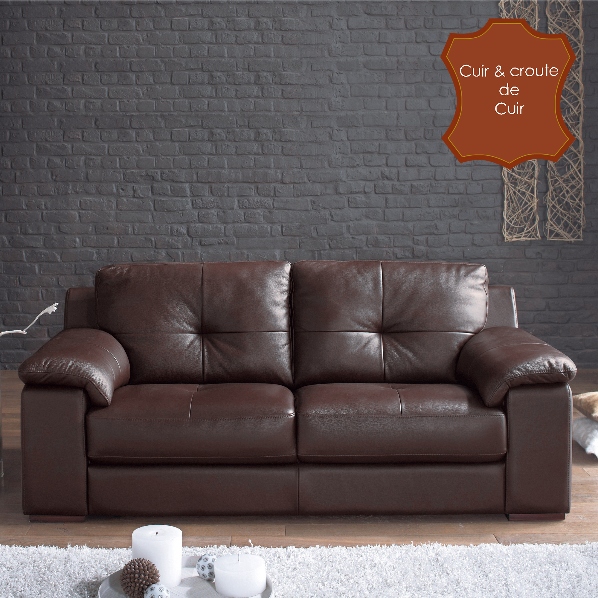 canap cuir 3 places fixe buffalo chocolat. Black Bedroom Furniture Sets. Home Design Ideas