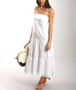 Robe longue blanc smockee