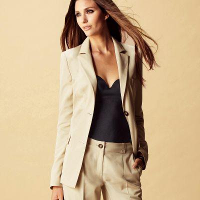 Veste de tailleur beige femme