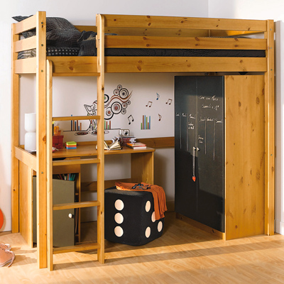 lit mezzanine en pin massif finition teint miel ou teint. Black Bedroom Furniture Sets. Home Design Ideas