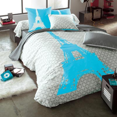 housse de couette turquoise et grise table de lit a roulettes. Black Bedroom Furniture Sets. Home Design Ideas