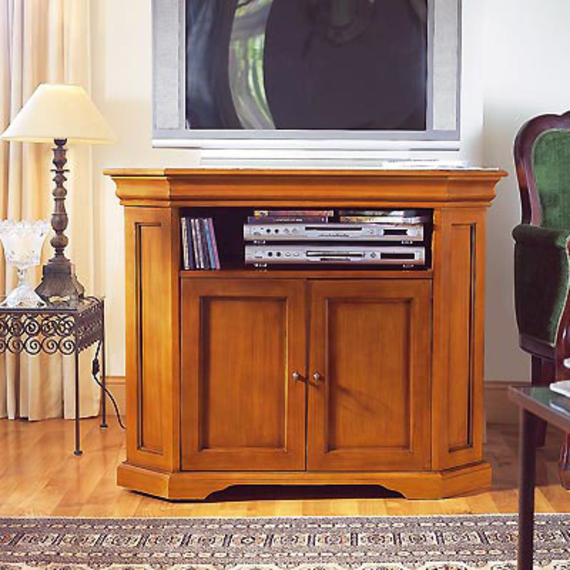 meuble tv d 39 angle style louis philippe merisier. Black Bedroom Furniture Sets. Home Design Ideas