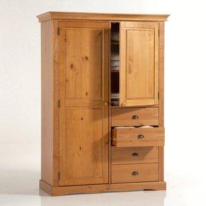 armoire pin massif penderie et ling re 4 tiroirs acheter. Black Bedroom Furniture Sets. Home Design Ideas