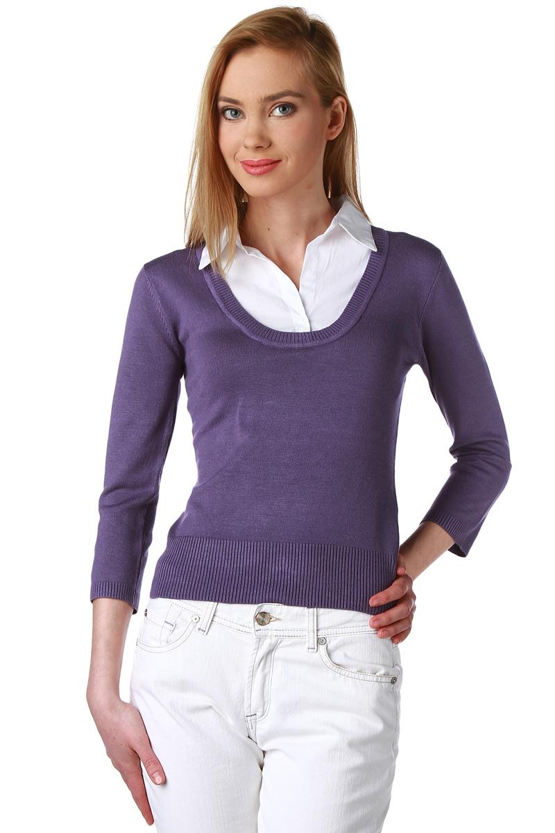 pull faux double chemise manches 3 4 femme acheter ce produit au meilleur prix. Black Bedroom Furniture Sets. Home Design Ideas