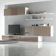 Ensemble mural tv glosse blanc taupe brillant 4 l ments - Meuble tv couleur taupe ...
