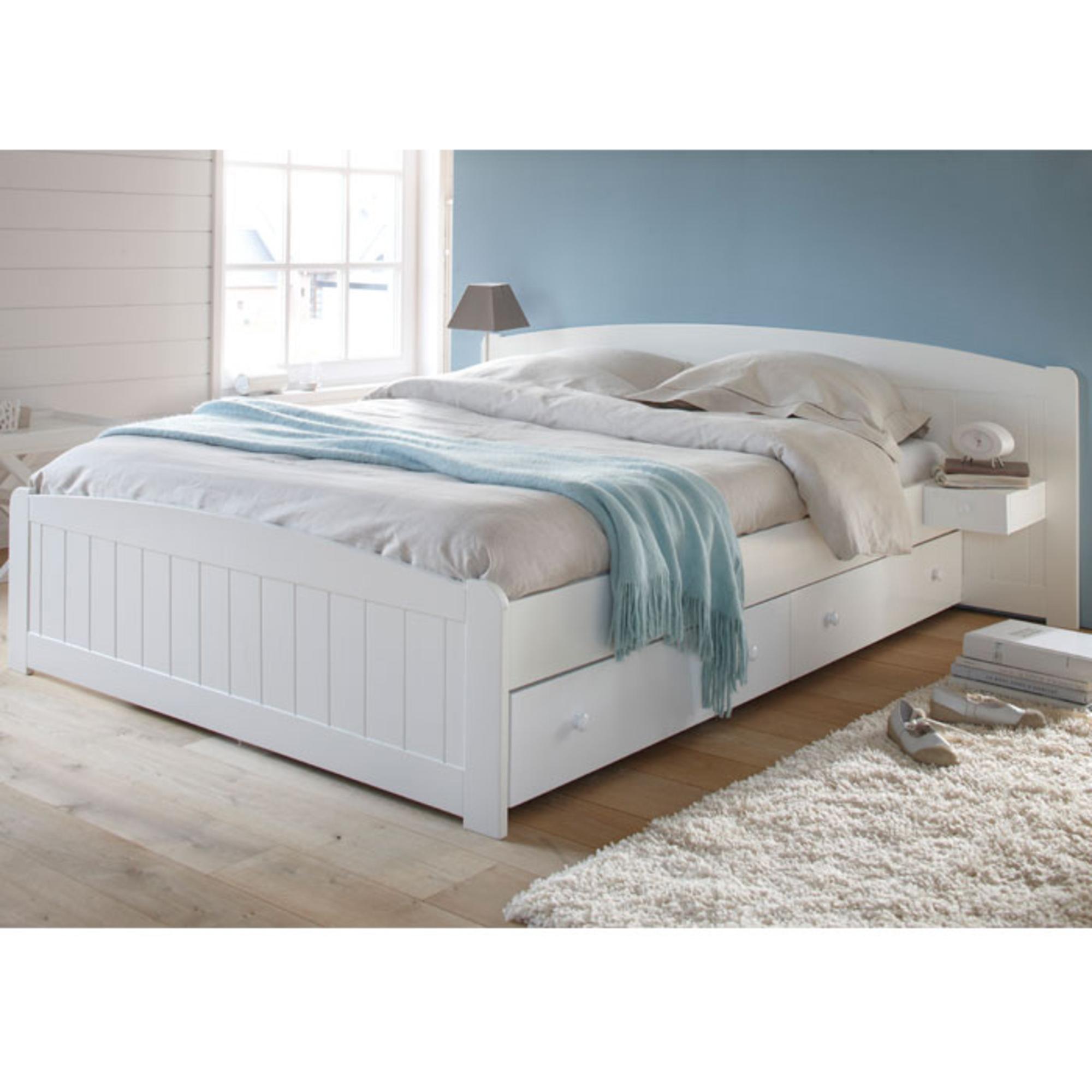 lit 160 x 200 cm sommier 2 chevets int gr s oxford blanc anniversaire 40 ans acheter. Black Bedroom Furniture Sets. Home Design Ideas