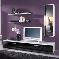ensemble meuble tv meuble suspendre 2 tag res. Black Bedroom Furniture Sets. Home Design Ideas