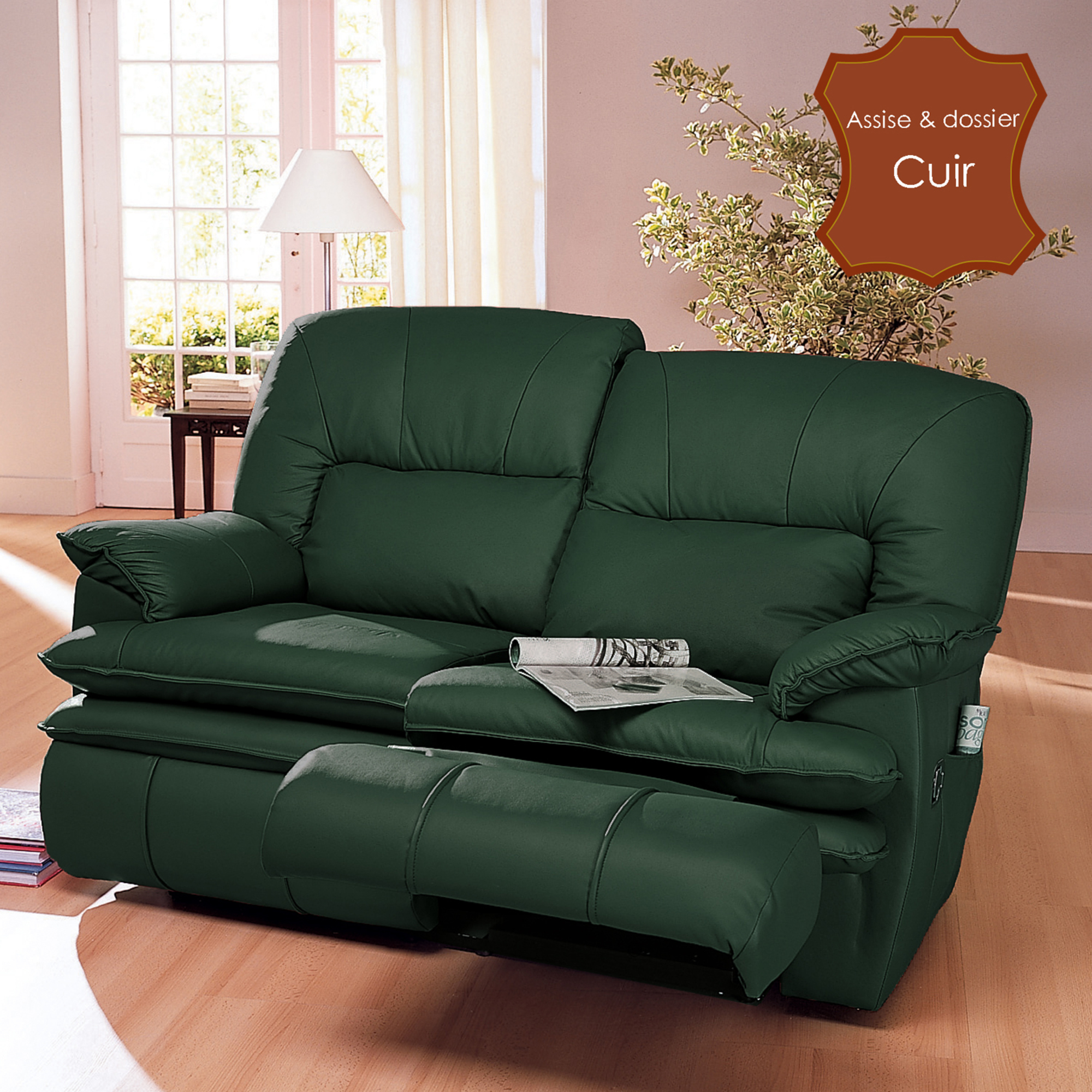 Canap 2 places de relaxation version lectrique privil ge vert anniversa - Canape relax 2 places ...